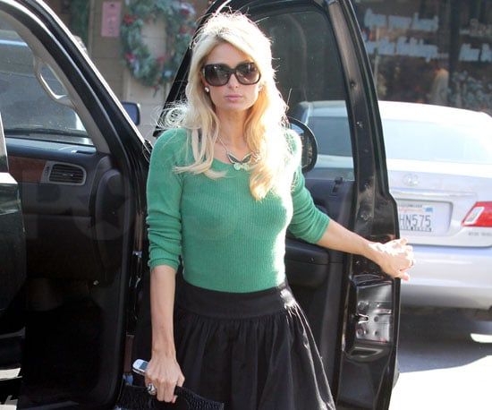 Slide Photo of Paris Hilton Getting Out of Her Car in LA