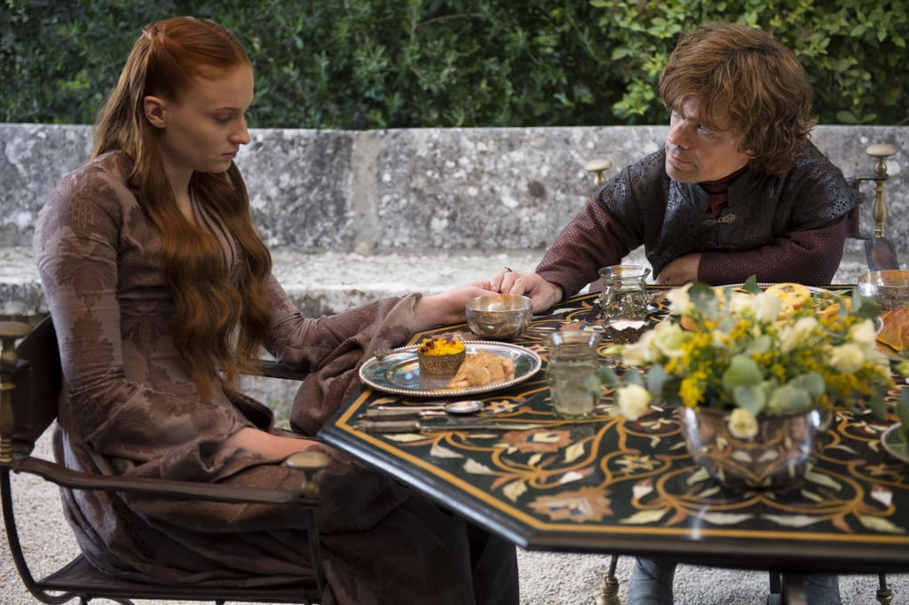 Sophie Turner as Sansa Stark and Peter Dinklage as Tyrion.