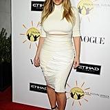 Kim Kardashian in White Crop Top and Pencil Skirt