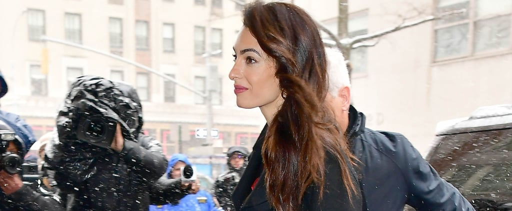 Amal Clooney Red Jumpsuit at Meghan Markle's Baby Shower