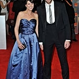 Bridesmaids's Chris O'Dowd enjoys himself with his fiancée.