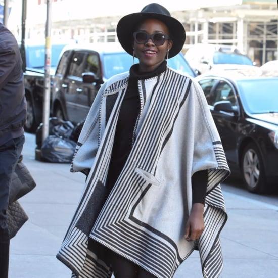 Lupita Nyong'o Wearing a Poncho in New York City