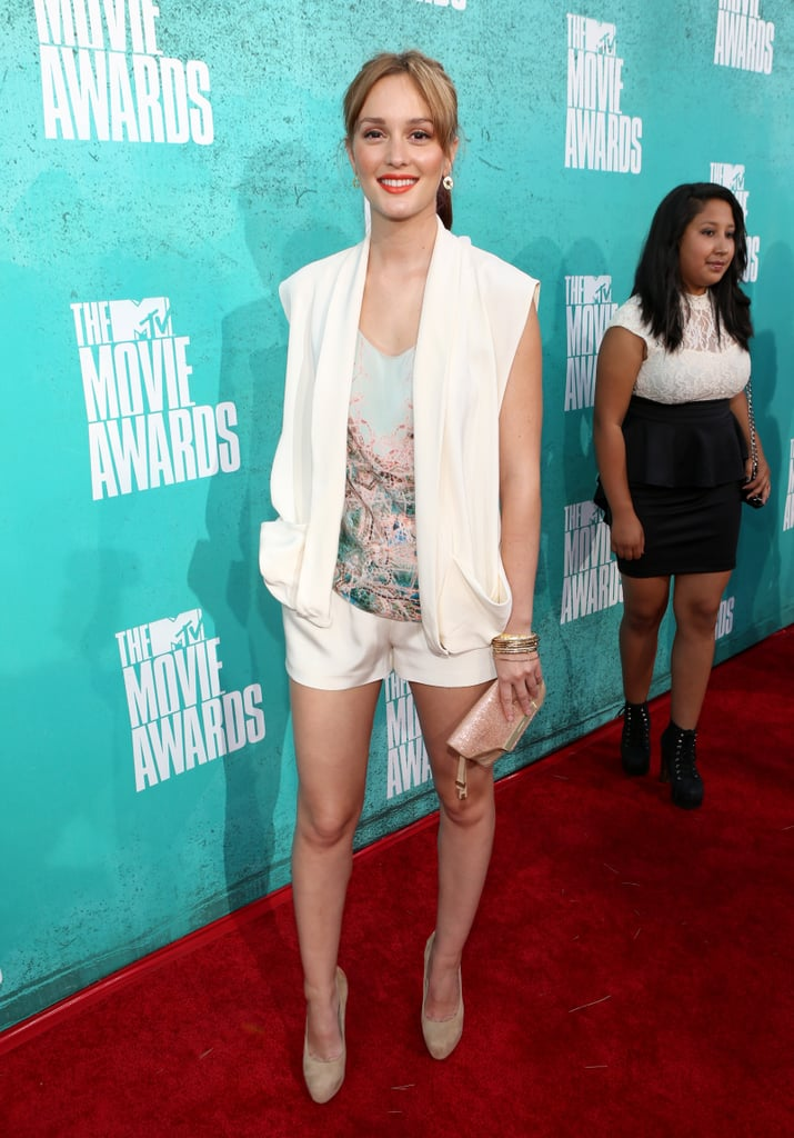 Leighton Meester showed off some Summery style at the MTV Movie Awards in Universal City today. The actress had her pins out in a pair of shorts teamed with a printed top. She also had lightened hair and a punchy lip colour. The Gossip Girl actress has one more season to go of playing her iconic character Blair Waldorf, and will next be seen on the big screen in That's My Boy opposite Andy Samberg and Adam Sandler. Weigh in on Leighton's look by voting on Fab and Bella's polls.
