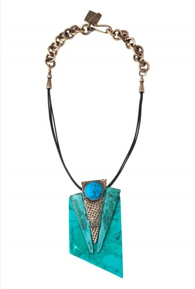 Make a bold statement in this stunning Kelly Wearstler facet patina necklace ($75, originally $375), with special code EXTRA60POP.