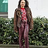 Style Your Leopard-Print Coat With: A Printed Sweater, Pants, and Boots