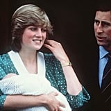 For the iconic moment in 1982 when Diana left St. Mary's Hospital with Prince William, she wore green and white spots from Catherine Walker.