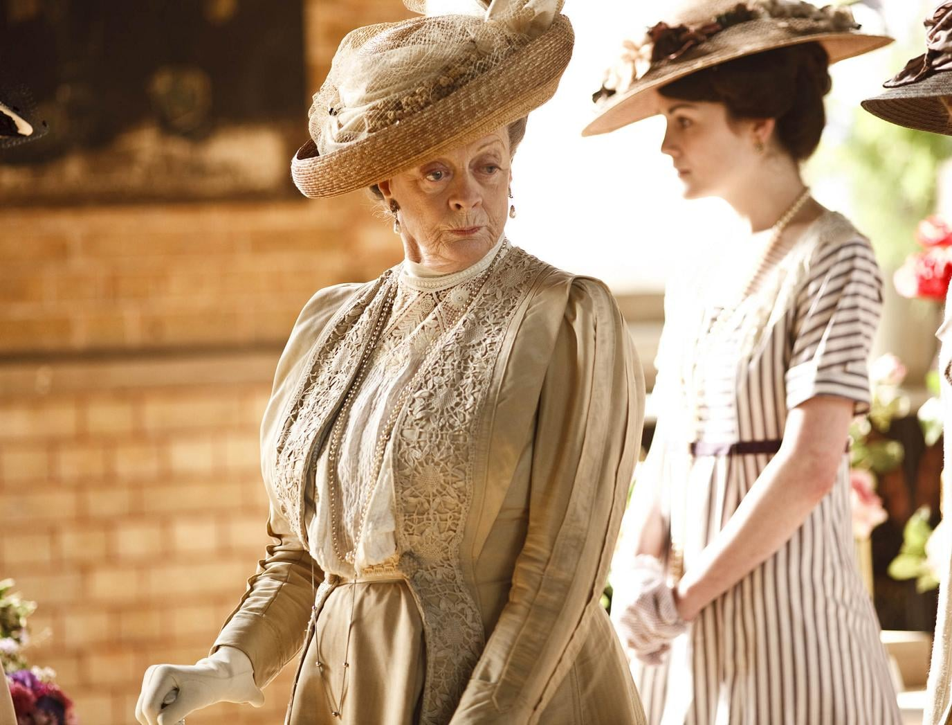 """Sybil Crawley: """"No one ever learned anything from a governess except for French, and how to curtsy."""" Lady Violet: """"What more do you need?"""" Photo courtesy PBS"""