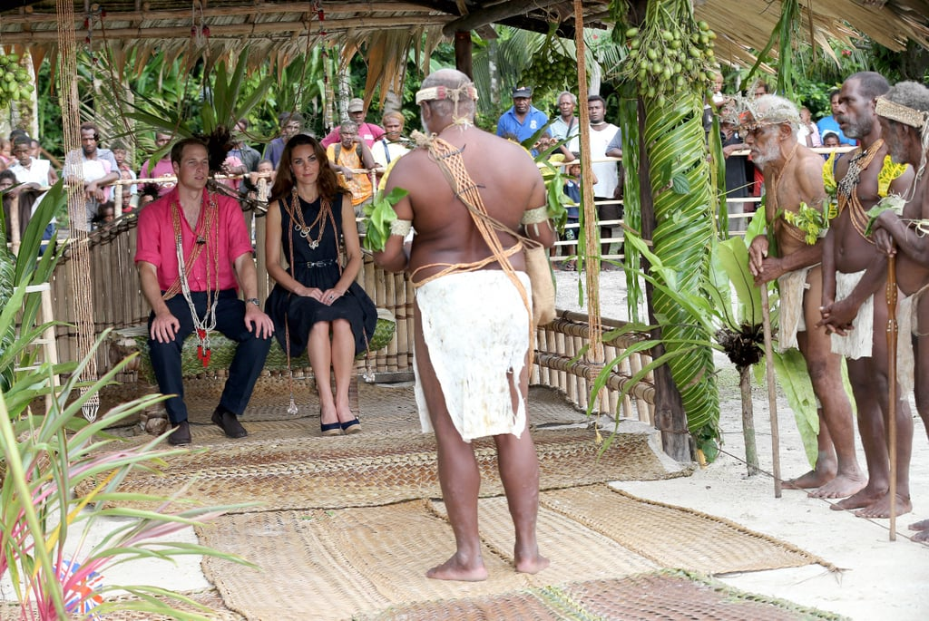 Prince William and Kate Middleton were welcomed to the island of Tuvanipupu.