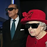 Queen Elizabeth II wears 3D glasses at the University of Sheffield Advanced Manufacturing Research Center in 2010.