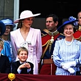 Queen Elizabeth II with her family at Trooping the Colour in 1989.