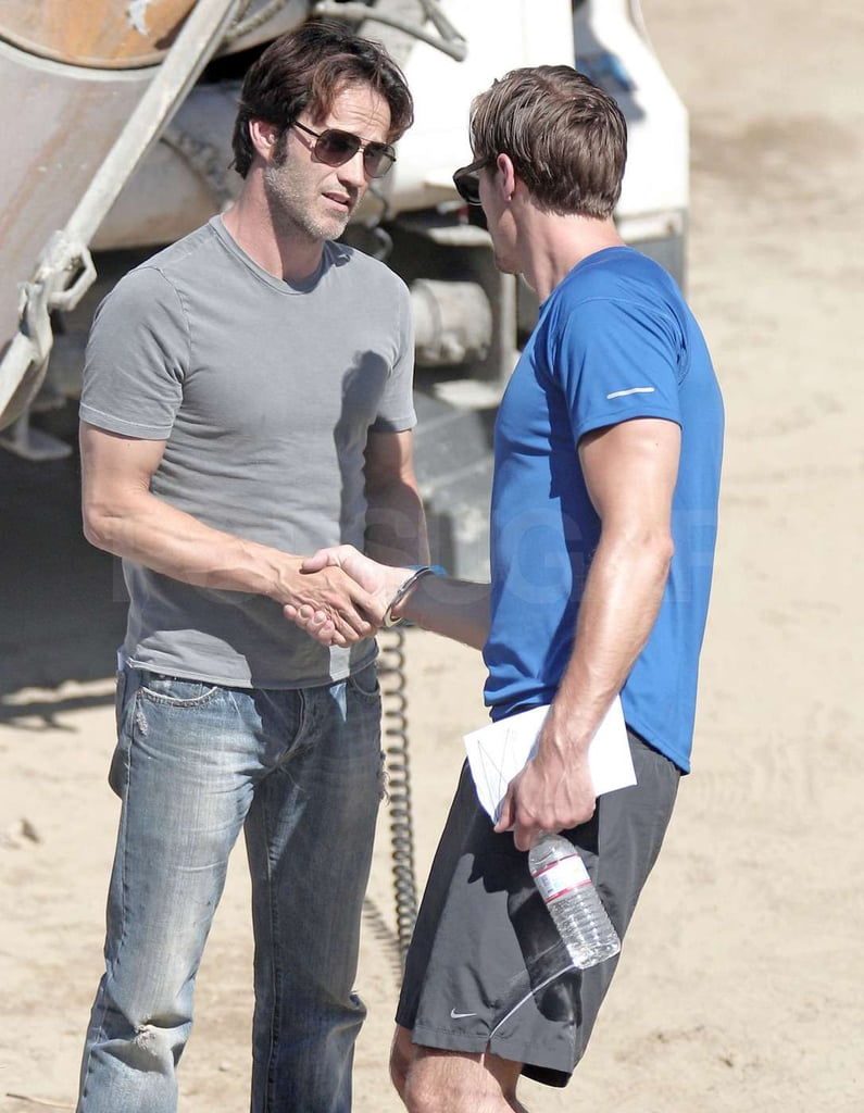 Pictures of Stephen Moyer and Alexander Skarsgard Practicing Fight Scenes on the Set of True Blood