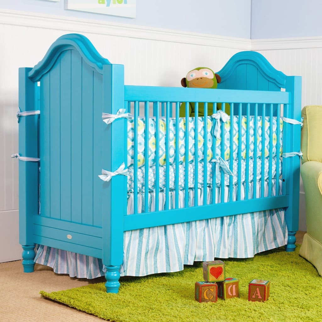 For those whose tastes veer toward the traditional with a twist, the Cape Cod Beadboard Crib ($1,295) features a classic profile, but comes in brilliant blue.