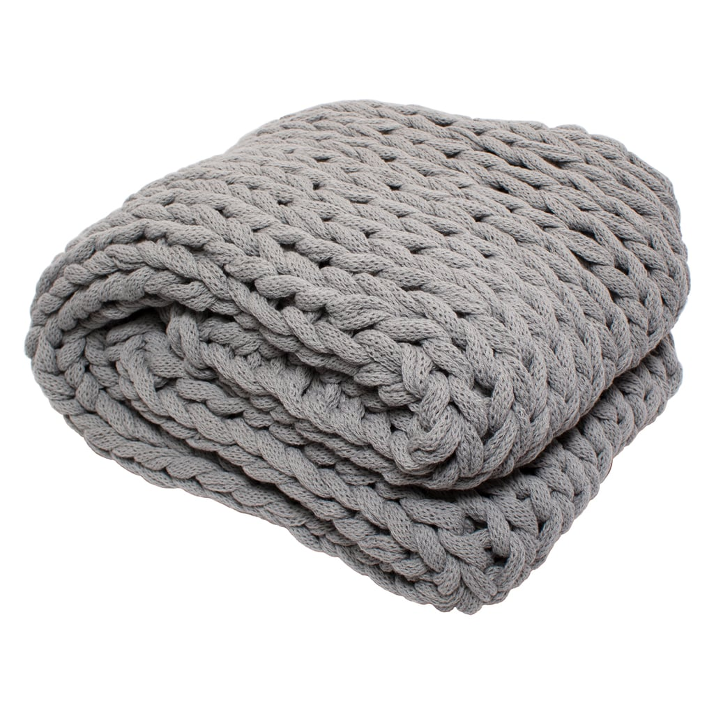 Silver One Chunky Knitted Throw Blanket