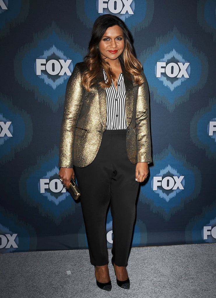 Mixing up menswear in a metallic Smythe blazer, striped button-down by The Kooples, and Zero + Maria Cornejo trousers at the Fox Winter TCA All-Star party in 2015.