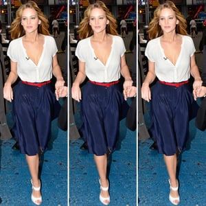 Jennifer Lawrence Navy Skirt Red Belt