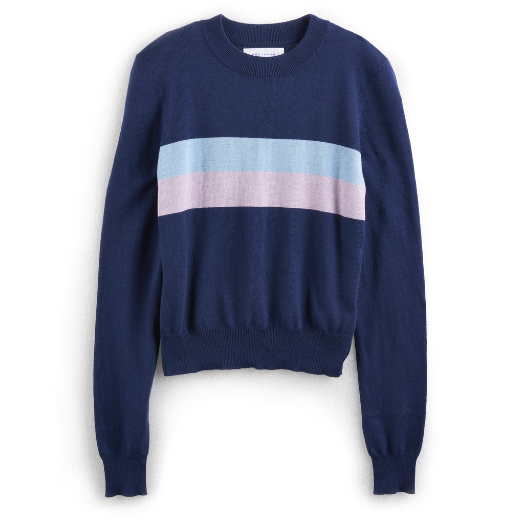 Colorblock Center-Stripe Sweater in Navy