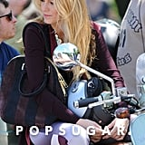 Blake Lively sat on the Vespa before shooting.