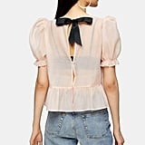 Sheer Bow Back Textured Blouse