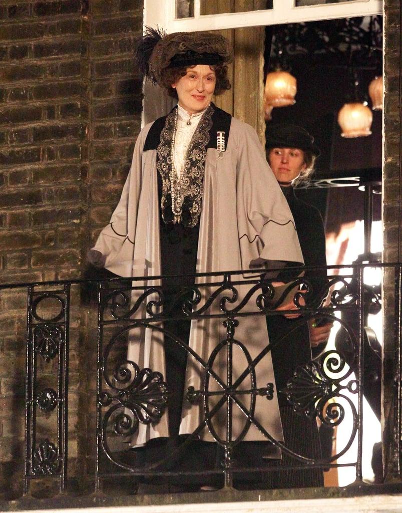Meryl Streep filmed a scene for Sufragette in London on Monday.