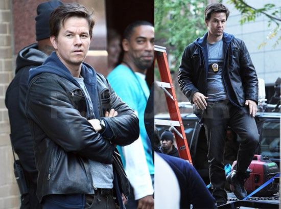 Photos of Mark Wahlberg on the set of The Other Guys in Manhattan