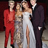 Pictured: Troye Sivan, Ariana Grande, Hailey Baldwin, and Shawn Mendes