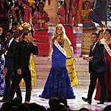 Miss England Kirsty Heslewood performed during the pageant.