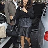 Salma Hayek stepped out of the car.