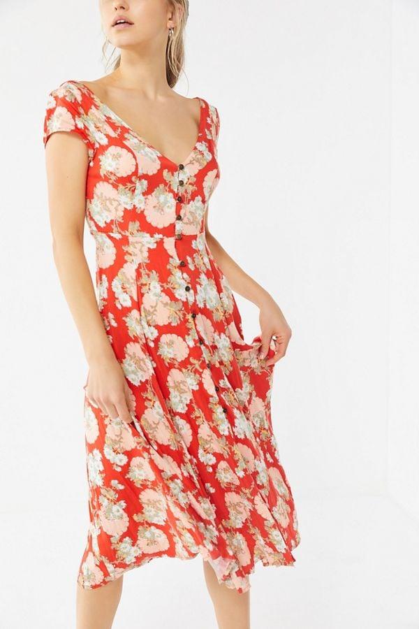 UO Malena Button-Down Midi Dress