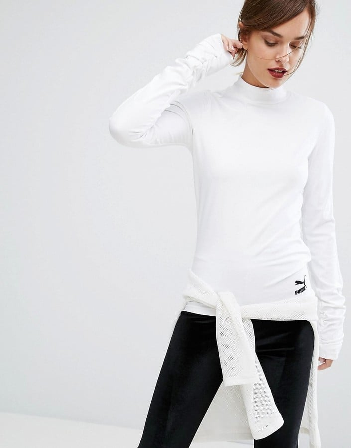 Puma High Neck Top With Extreme Long Sleeves in White