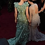 Carol Costars Cate Blanchett and Rooney Mara Navigating the Carpet in Their Gowns