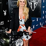 Jennifer Morrison checked out the motorcycle at Playboy and A&E's Bates Motel bash on Friday.