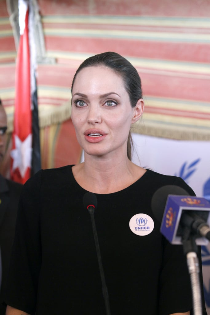 Angelina Jolie speaks at the press conference.