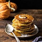 Spiced Pumpkin Cinnamon Roll Pancakes