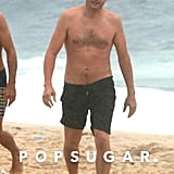 Ashton Kutcher Shirtless on the Beach in Brazil Oct. 2017