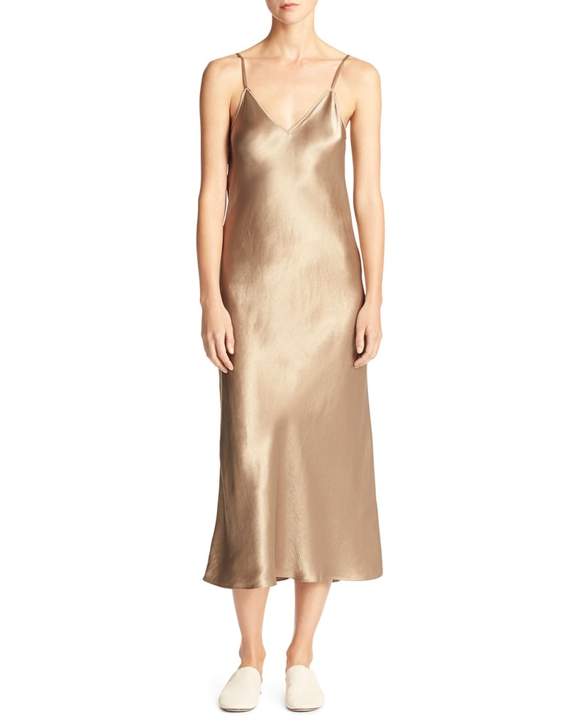 Vince Bias-Cut Satin V-Neck Midi-Length Slip Dress ($275)