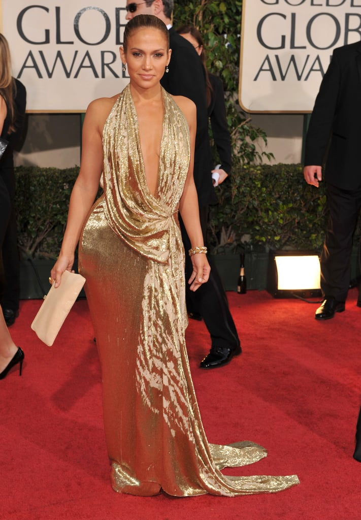 Going glam in a gold Marchesa on the Golden Globes red carpet in '09.