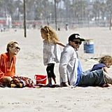 Nicole Richie and Joel Madden spent quality time with Sparrow and Harlow during a family beach trip to Malibu for Easter.
