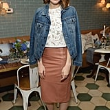 Mandy Moore's denim-jacket styling trick? Add it to a sophisticated pencil skirt and pretty top to give the look a more casual vibe.