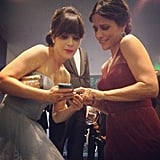 Funny ladies Zooey Deschanel and Julia Louis-Dreyfus hung out backstage. Source: Instagram user jessetyler