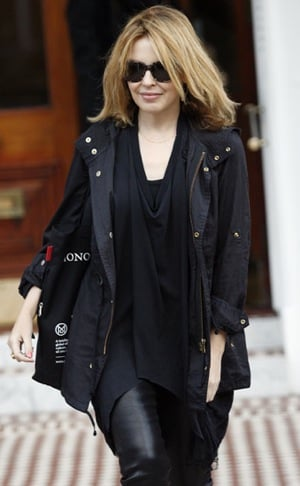Kylie Minogue Wears a Black Anorak and Liquid Leggings Leaving Her Home in London