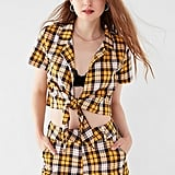 I.AM.GIA Keidis Tie-Front Plaid Top