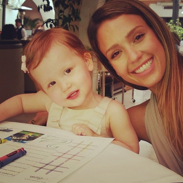 Jessica Alba colored with her daughter Haven during Mother's Day brunch. Source: Instagram user jessicaalba