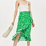 Topshop Floral Print Midi Skirt
