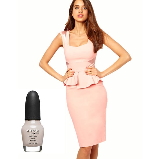 With a dress that has as much panache as Sephora by OPI Nail Color in Bare to Be Different ($10).