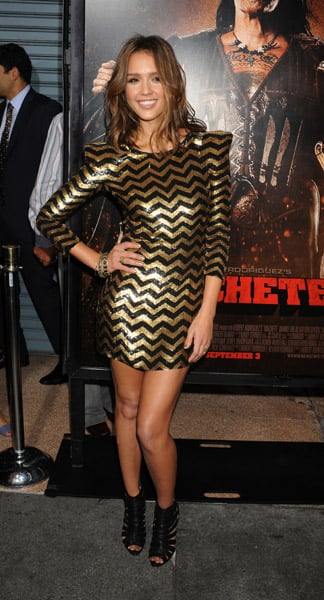Jessica exuded zigzag chic in Balmain at the LA premiere.