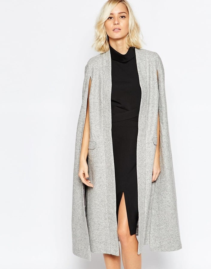 Lavish Alice Wool Collarless Cape Coat ($215)