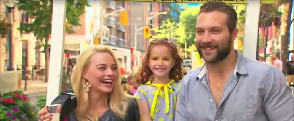 Margot Robbie and Jai Courtney Visit Girl's Lemonade Stand