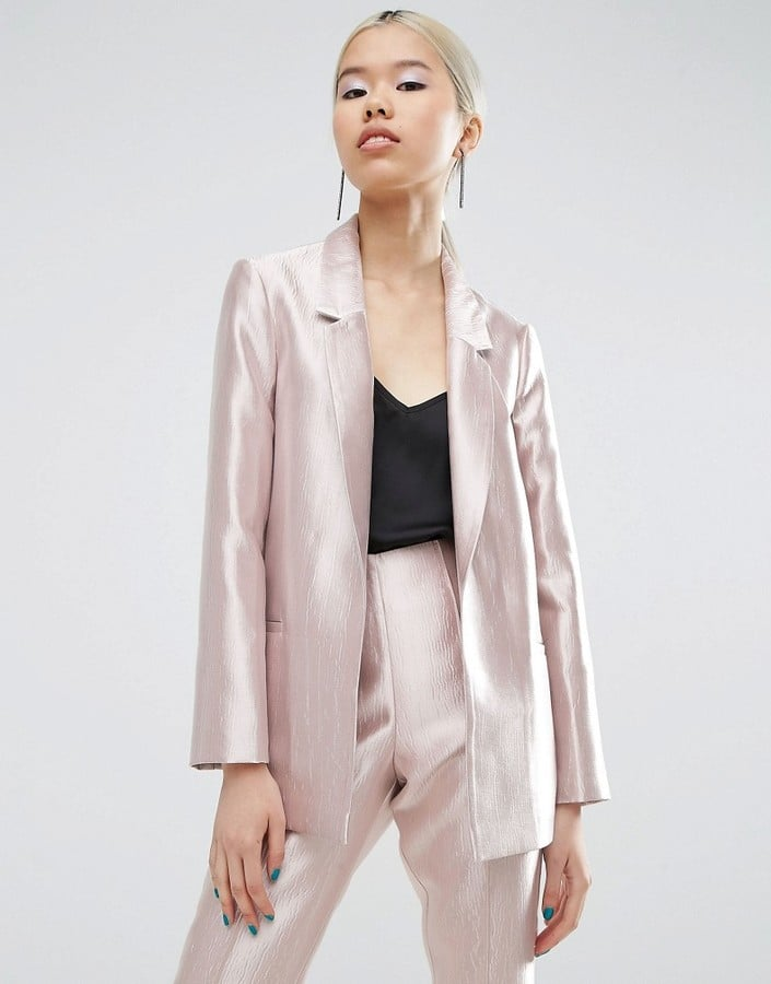 b4268898a2 ASOS Ultimate Pink Structured Metallic Blazer