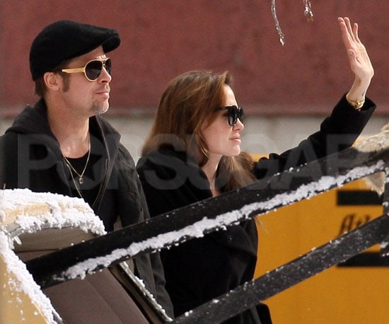 Slide Picture of Brad Pitt and Angelina Jolie on Set in Hungary