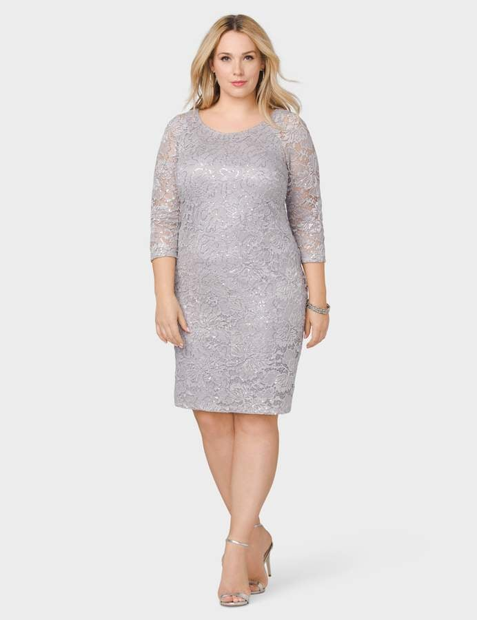 Dressbarn Sequined Lace Sheath Dress Best Plus Size Bridesmaid